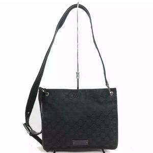 Gucci Shoulder Bag GG Black Canvas 1102566